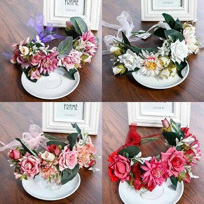 Lace Rose Large Flower Crown Floral Women Hairband Headband Party Wedding