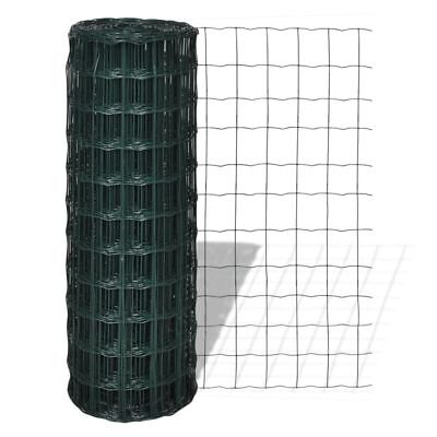vidaXL 0.8x25m Euro Fence Steel PVC Wire Netting Mesh Pet Poultry Chicken Coop