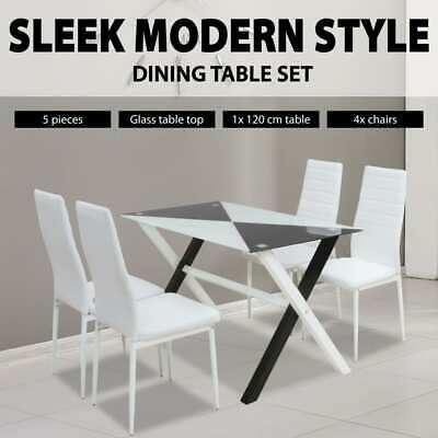 Dining Suite Rectangular Glass Table 4 White Padded Leather Chairs Furniture