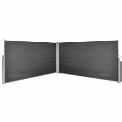 1.6x6m Retractable Side Awning Privacy Screen Shade Patio Garden Terrace Black