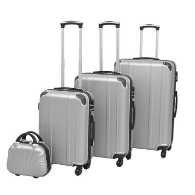 vidaXL 4PC Suitcase Trolley Set TSA Travel Bag Luggage Beauty Hardcase Silver