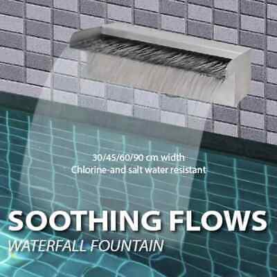 Rectangular Water Feature Stainless Steel Waterfall Fountain Pool Multi Widths