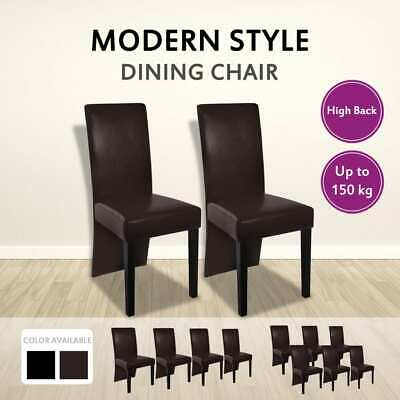 2/4/6pc PU Leather Dining Chair Kitchen Stool Set High Back Seat Black/Brown
