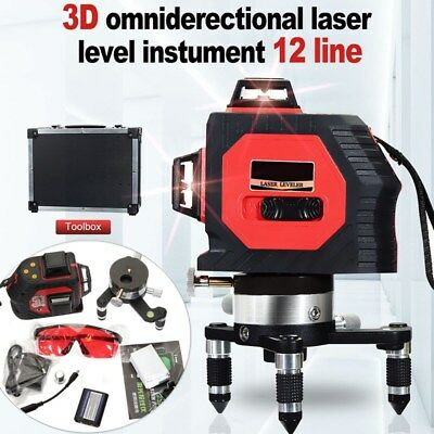 3D Laser Level 12 Line Self Leveling Vertical 360° Rotary Cross Measure Tool Red