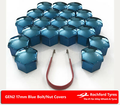 Blue Wheel Bolt Nut Covers GEN2 17mm For BMW 5 Series [E60] 03-10