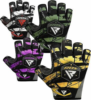 RDX Gym Weight Lifting Gloves Body Building Training Workout Straps Fitness