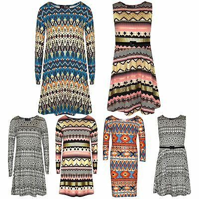 Girls Skater Dress Kids Aztec Print Summer Party Swing Midi Dresses 7-13 Years