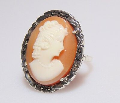 Art Deco Antique Sterling Silver 925 Marcasite & Carved Shell Cameo Ring Size 5