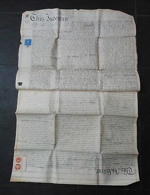Excellent Antique Indenture From 1877, Full Vellum, Stamps Seals,