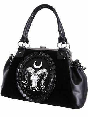Restyle Ram Skull Gothic Witch Cameo Black Velvet & Faux Leather Occult Hand Bag
