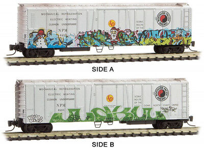 Micro-Trains MTL Z-Scale Mech. Reefer Northern Pacific/NP Christmas Graffiti 620