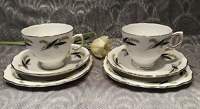 Royal Vale English Bone China 2 Cups & Saucers & Side / Cake Plates Vintage