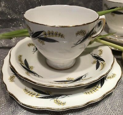 Royal Vale English Bone China Cups, Saucers & Side / Cake Plate Vintage Antique