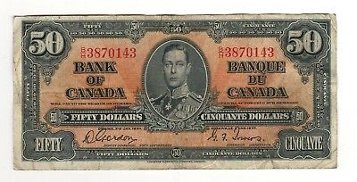 Canada 1937 $50 Bank of Canada Banknote B/H #6