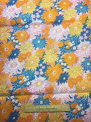 Vintage Cotton Fabric 50s60s CUTE Blue Yellow Orange Flower Power 35w 1yd