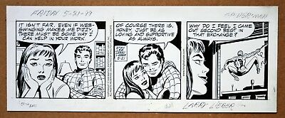 Amazing Spider-Man Daily Strip Orig Art Stan Lee Signed By Larry Lieber 5-21-99