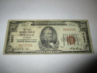 $50 1929 Durango Colorado CO National Currency Bank Note Bill! Ch. #2637 RARE!