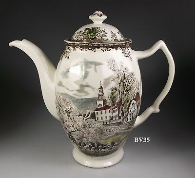 """JOHNSON BROTHERS the FRIENDLY VILLAGE COFFEE POT WITH LID 7 3/8""""- MADE England"""