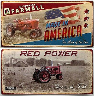 FARMALL Tractor  Lot of 2 Tin Signs Vtg Look  IH Tractors Theme Country Decor
