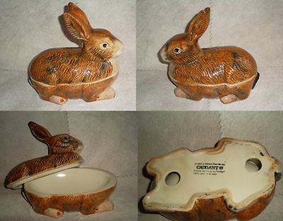 Belle Terrine Lapin En Faience Signe Michel Caugant