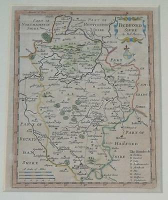 MORDEN Original Engraved Map Of Bedfordshire Roads Rivers Towns Parks Coloured