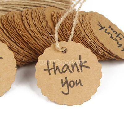 100x Thank You Kraft Jewelry Price Label String Price Tags Swing Craft w/ String