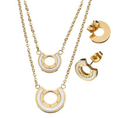 Stainless Steel Charm Women Fashion Shell Pendant Necklace Earrings Jewelry Set
