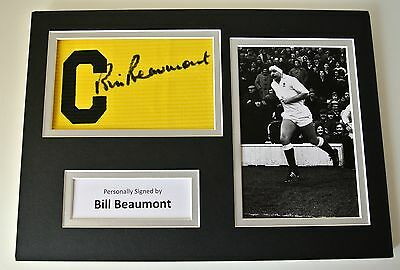 Bill Beaumont Signed Captains Armband A4 photo display England Rugby PROOF COA