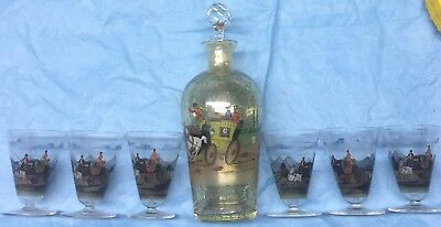 Coaching Decanter and Set of 6 Gimlet Glasses