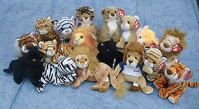 W-F-L Ty Beanie Wildcats Lion Leopard Tiger Large Selection