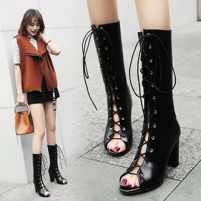 Womens Fashion Sexy Peep Toe Lace Up Mid Calf Boots High Heels Gladiator Shoes