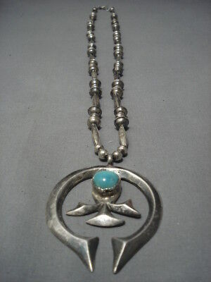 Stunning Hand Wrought Vintage Navajo Turquoise Sterling Silver Necklace Old