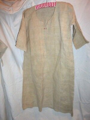 Vintage Antique Rustic French Linen Cream Chemise Night Gown Dress Tunic