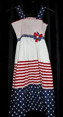 5ad9bdf101 BONNIE JEAN Girls 12 pageant CASUAL Red WHITE blue patriotic DRESS USA 4th  JULY