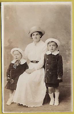 1920's era Postcard - Sweet little children with their mum