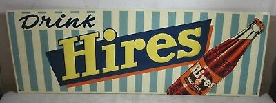 """Vintage 1950's Tin Embossed Drink Hires Root Beer Sign 32"""" x 11"""" Gas Station USA"""