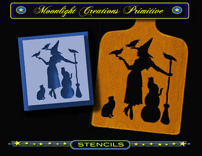 STENCIL~FAMILY GATHERING~Halloween Witch 2 Black Cats & 3 Crows Classic Looking