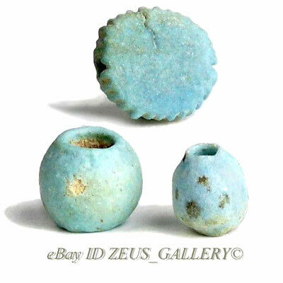 Ancient EGYPTIAN Faience Beads 3 Aqua Glazed, Black painted Dots, Globe, Disc