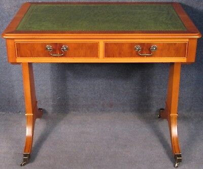 Regency Style Yew Wood Leather Top 2 Drawer Writing Table / Small Desk