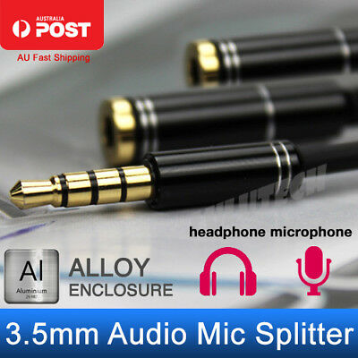 3.5mm AUX Audio Mic Splitter Cable Earphone Headphone Adapter Male To 2 Female