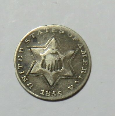 1855 Three Cent Silver Dent In Middle