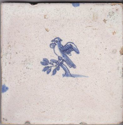 Delft Tile c. 18th / 19th century   (T 30)      Bird on a branch