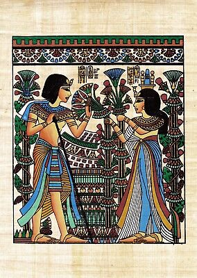 "Egyptian Hand-painted Papyrus King Tut & Queen Wedding Scene 8"" x 10"" IMPORTED"