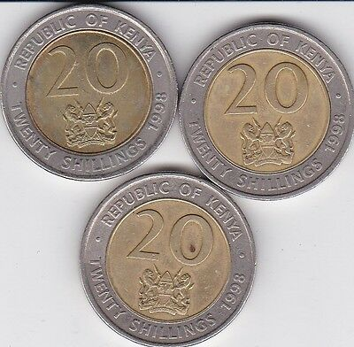 3 x  20  Shillings Kenya 1998   Bi-metallic  coins    LOOK