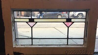"Small Antique Stained Leaded Glass Transom Window 22"" by 13"""