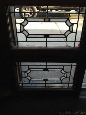 """2  Antique Chicago Stained Leaded Glass Transom Windows 22"""" by 14"""""""