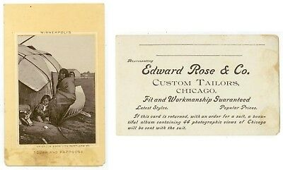 c1880s Minneapolis Minnesota Indian Squaw and Papoose -Chicago tailor trade card