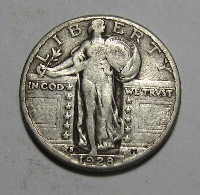 1928 Large S Standing Liberty Quarter - Fine to Very Fine Condition - 57FR