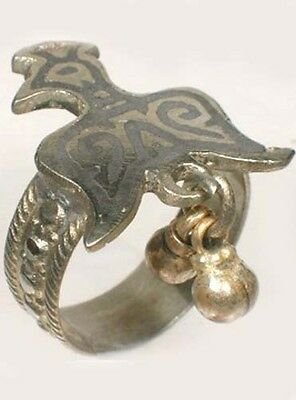 Antique 19thC Russia Ukraine Crimean Tartar Silver Eagle Enamel Niello Ring Sz9½