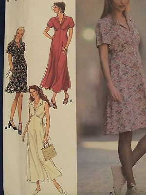 Lovely VTG 95 STYLE 2566 Ms Flared Empire Dress in 2 lengths PATTERN 8-18 UC